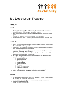 Job Description for a Treasurer