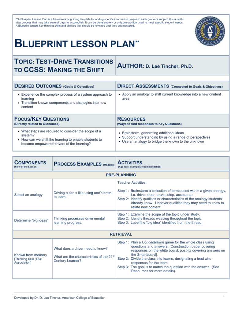 Blueprint lesson plan topic american college of education malvernweather Image collections