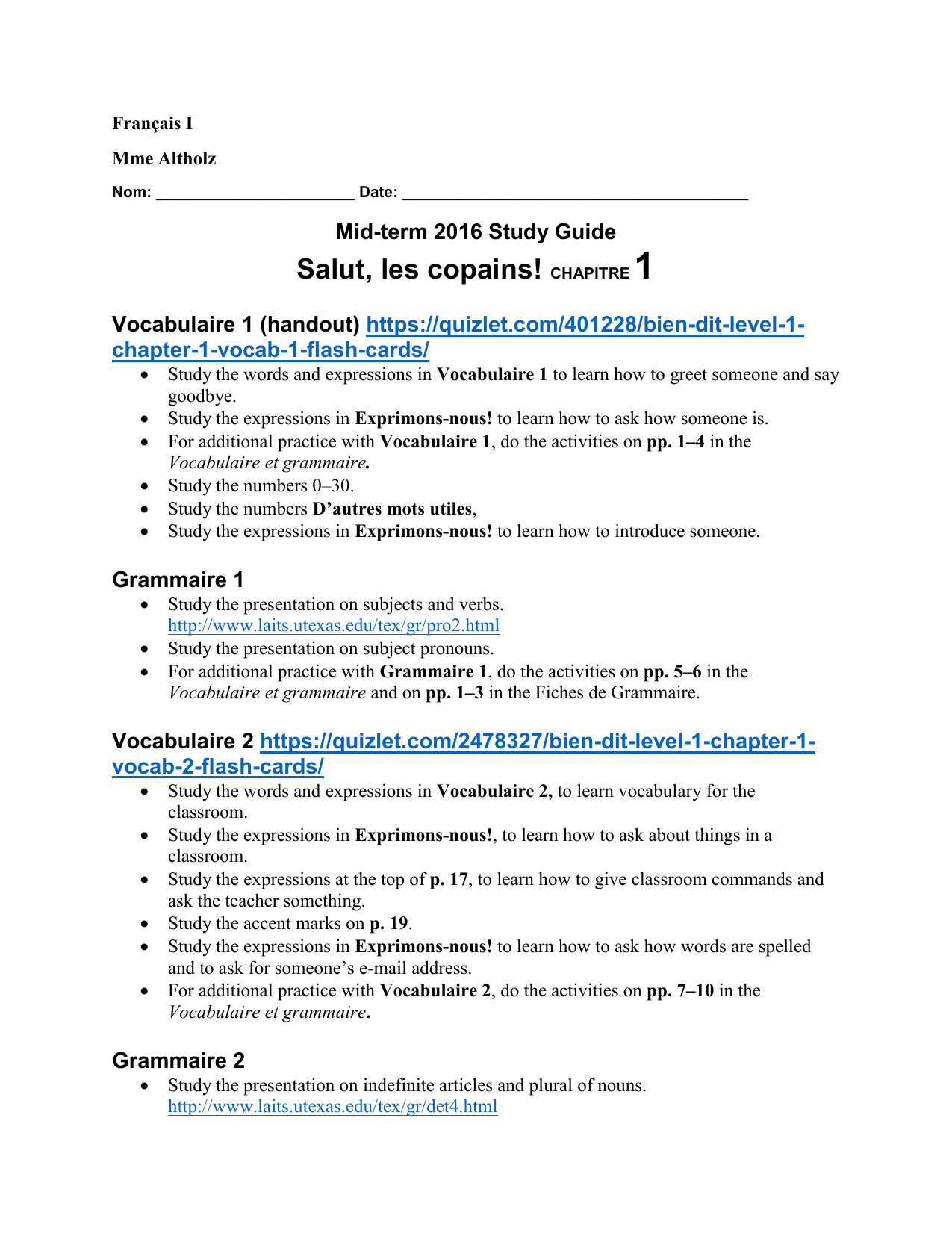 French I Mid-term 2016 study guide chapter 1 to 3