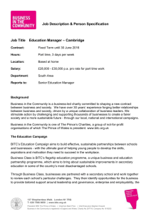 Job Description & Person Specification Job Title Education Manager