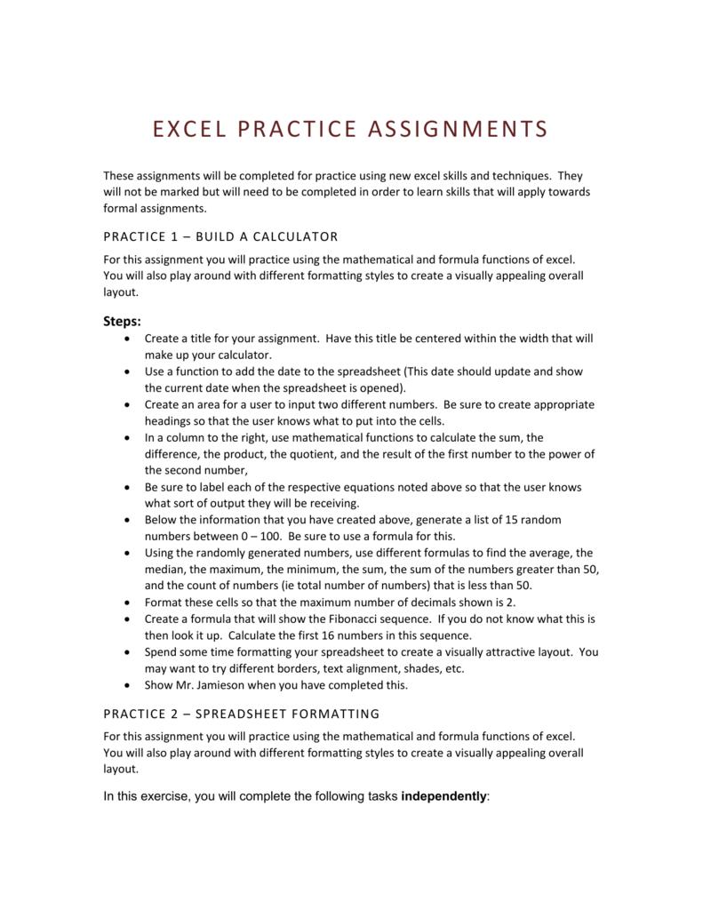 Excel Practice Assignments