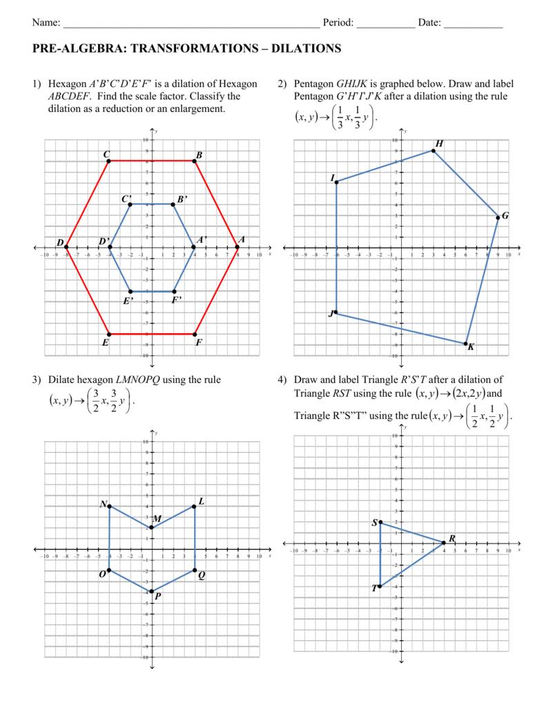 Pre Algebra Worksheet In Dilations Translations Worksheet Answers