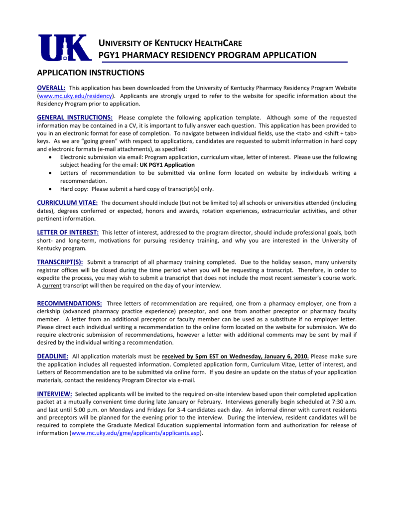 UK Pharmacy Practice Residency Application