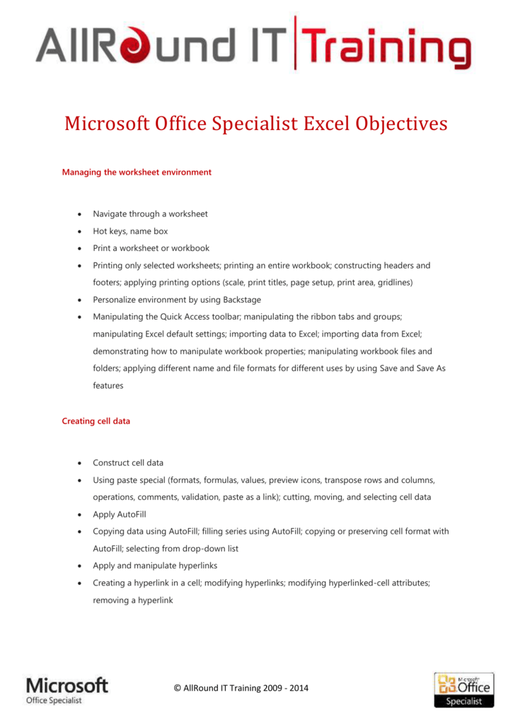 Microsoft Office Specialist Excel Objectives Managing the