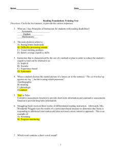 PrePostTest Answer Key September Revised 2011
