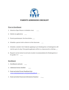 Parents Admissions Checklist