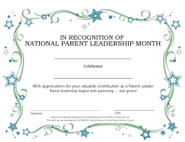 National Parent Leadership Month certificate