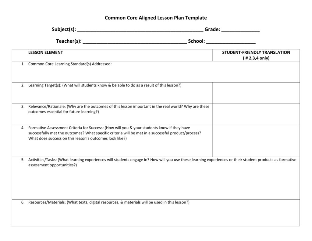 Common Core Aligned Lesson Plan Template
