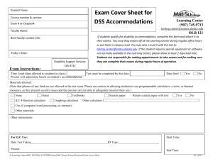 Exam Cover Sheet for DSS Accommodations - Mat