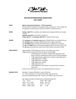 2012 Fact Sheet - Big Sur International Marathon
