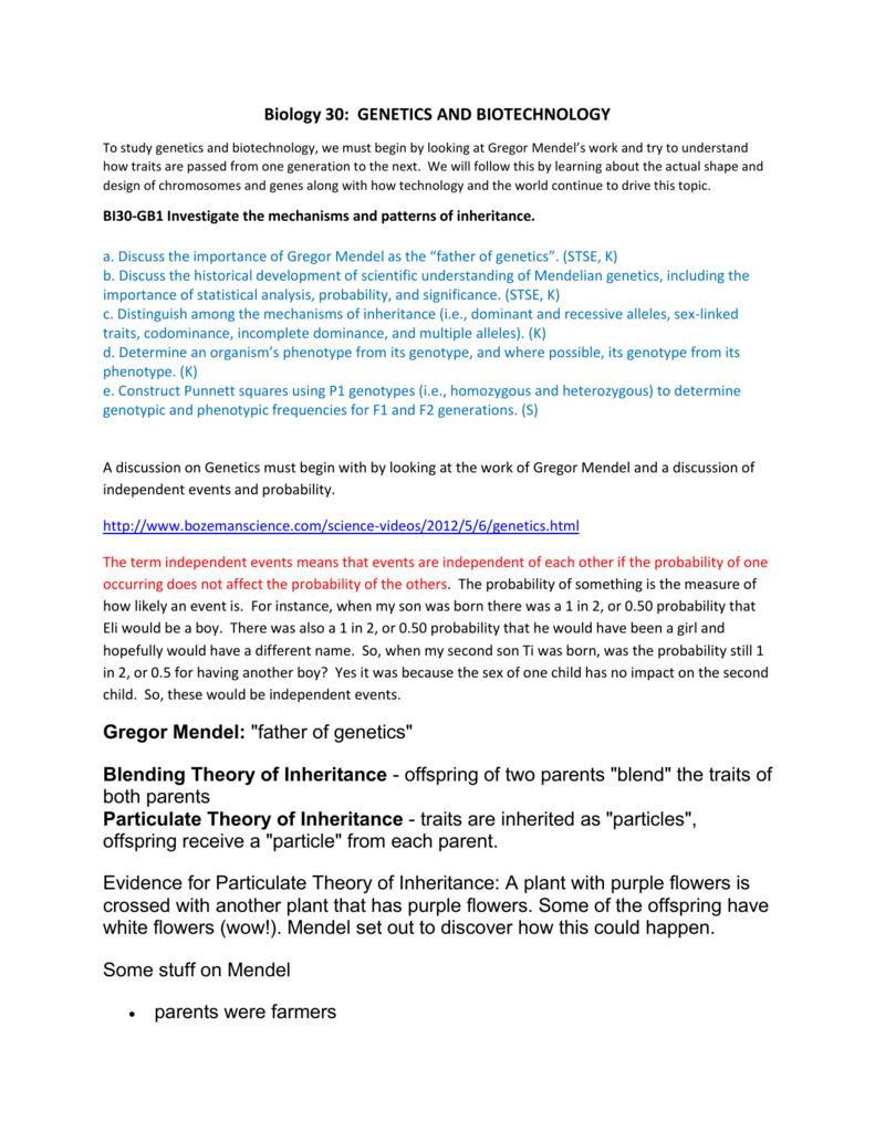 BI30 GB1 Patterns of Inheritance – Patterns of Inheritance Worksheet