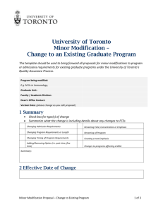 Change to an Existing Graduate Program - Office of the Vice