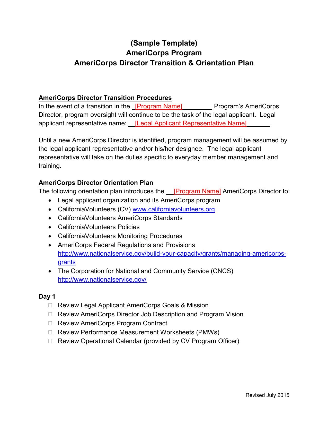 Americorps Program Director Transition Plan Template