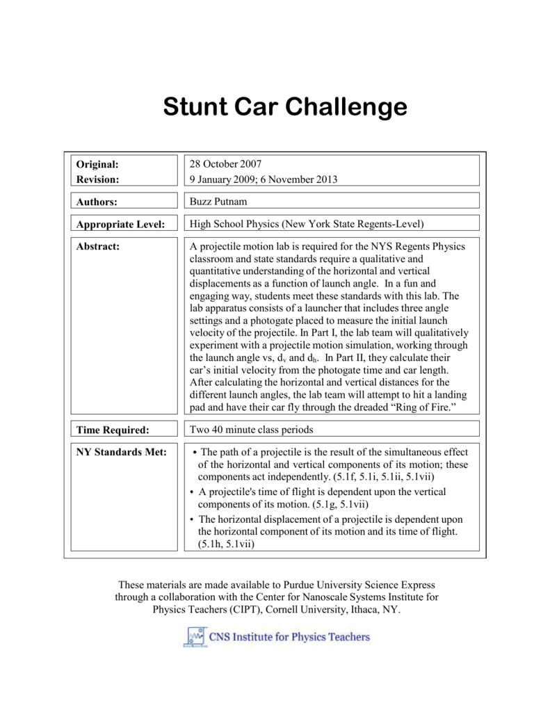Stunt Car Challenge College Of Science Variable Resistor Circuit Diagram Physicslab January 2007 Part 1