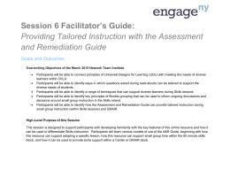 Providing Tailored Instruction with the Assessment and