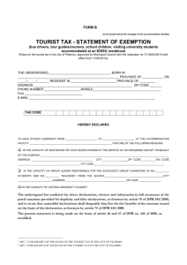 tourist tax - statement of exemption