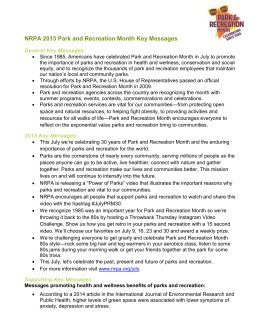 NRPA 2015 Park and Recreation Month Key Messages