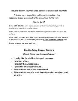 Double-Entry Journal Directions and Starters