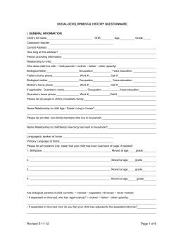 social history questionnaire