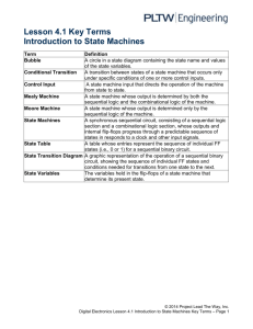 Lesson 4.1 Key Terms Introduction to State Machines