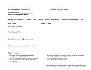 Co-Teaching Planning Sheet