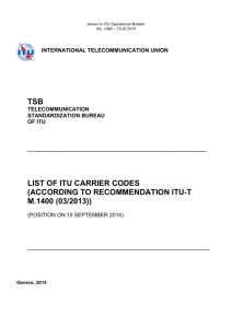 List of ITU Carrier Codes (According to Recommendation ITU