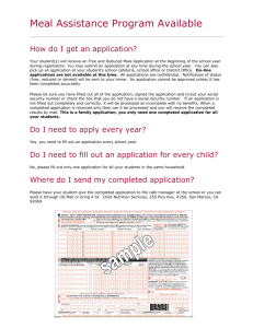 Meal Assistance Program Available How do I get an application