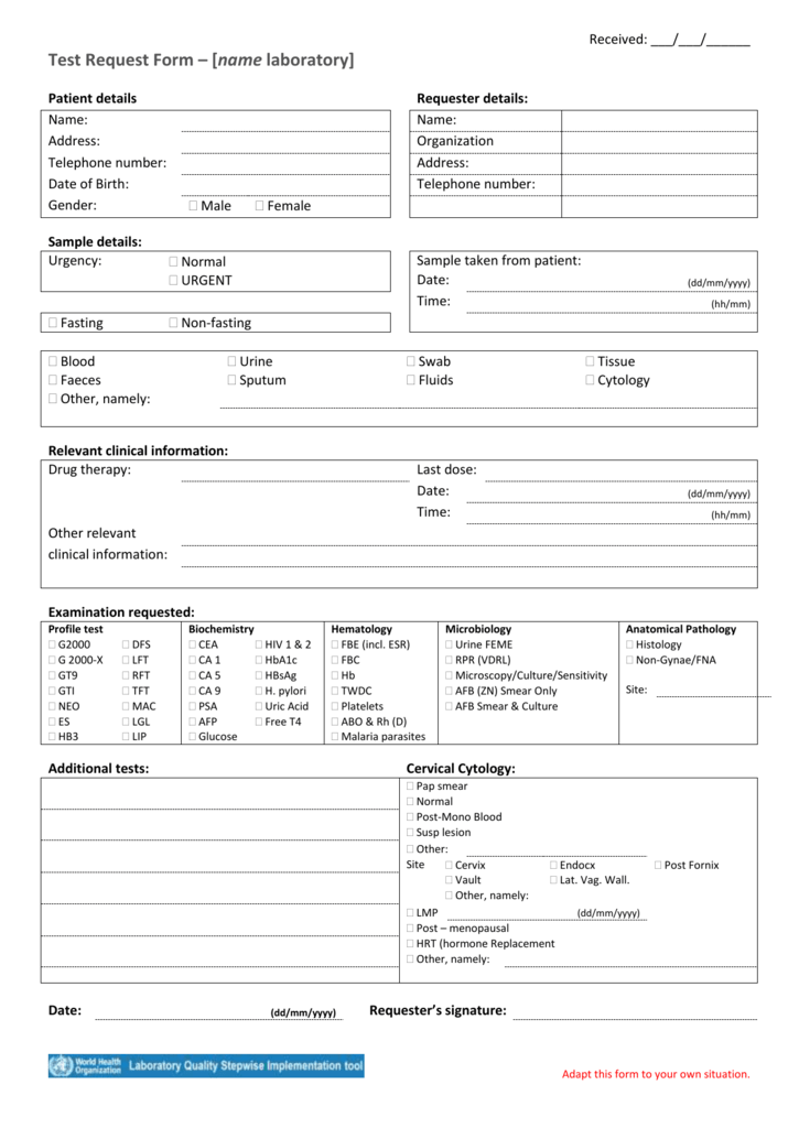 Template Laboratory Request Form