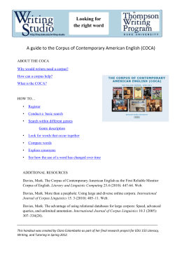 A Guide to the Corpus of Contemporary American English (COCA)