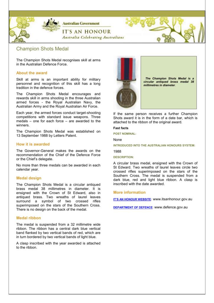 Champion Shot Medal