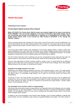 Fronius Symo Hybrid receives Plus X Award