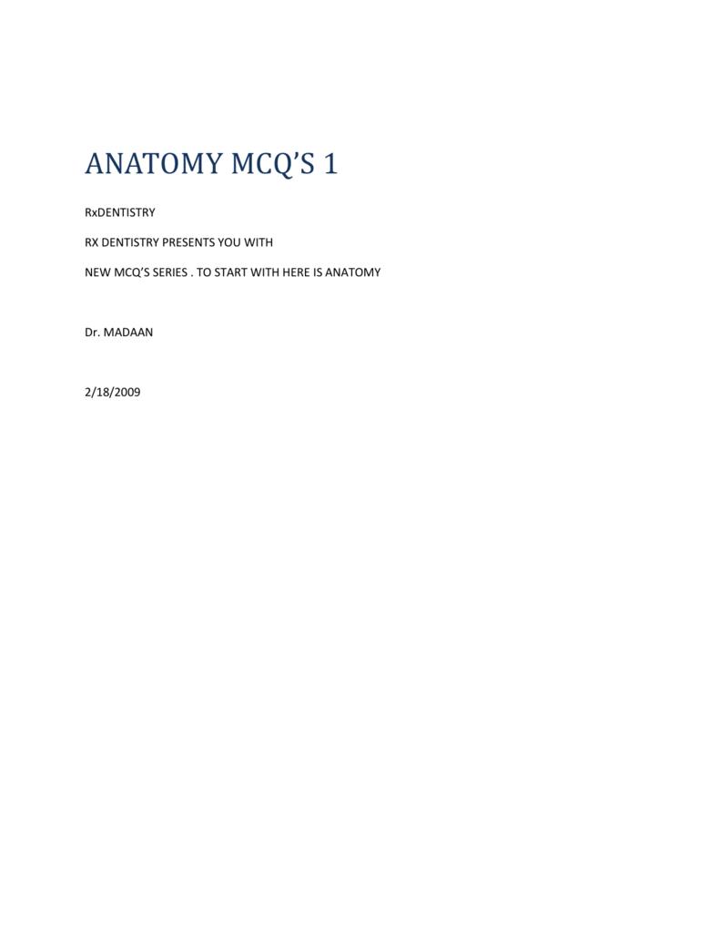 Anatomy Mcq 2