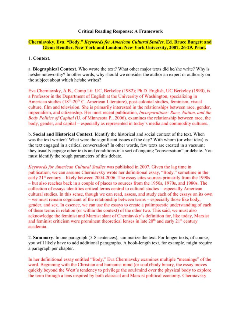 Body Cherniavsky Critical Reading Response