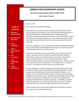 13-14 Carrollton Elementary Annual Education Report Cover Letter