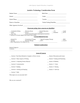 Assistive Technology Consideration Form