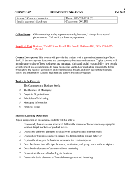 SAMPLE SYLLABUS - University of West Florida