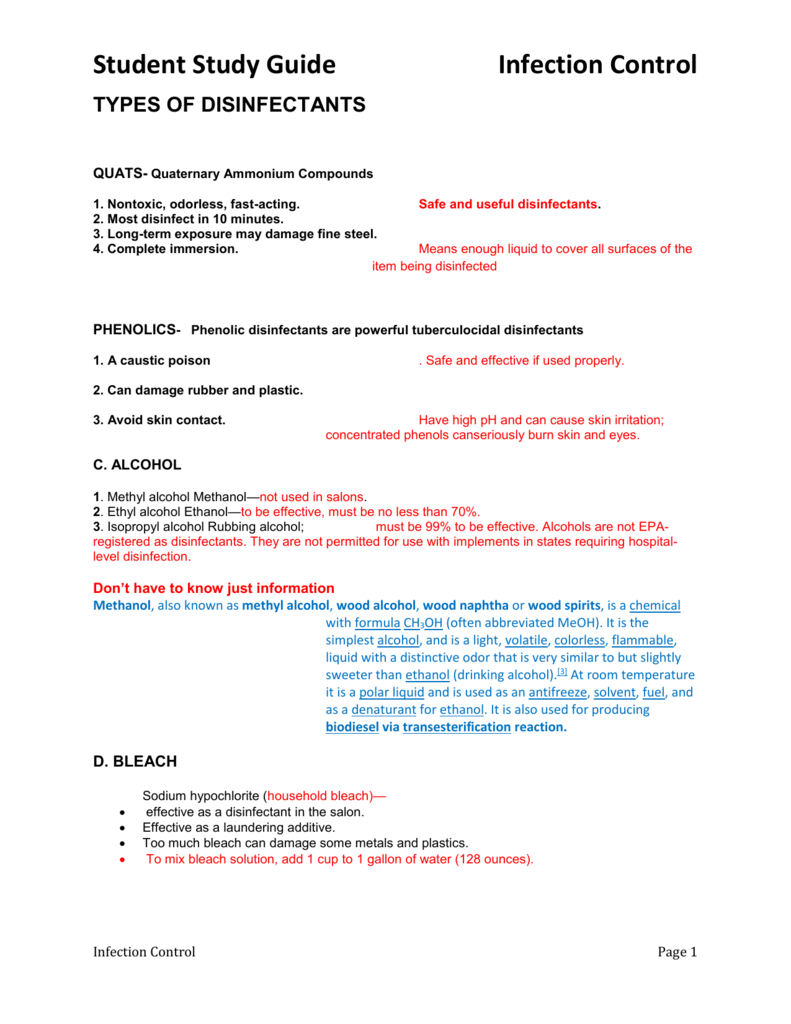 Student Study Guide Infection Control TYPES OF DISINFECTANTS