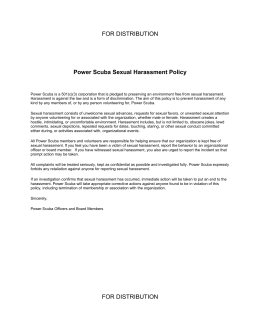 Power Scuba Sexual Harassment Policy - For Distribution