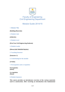 Faculty of Engineering Civil Engineering Department Module Guide