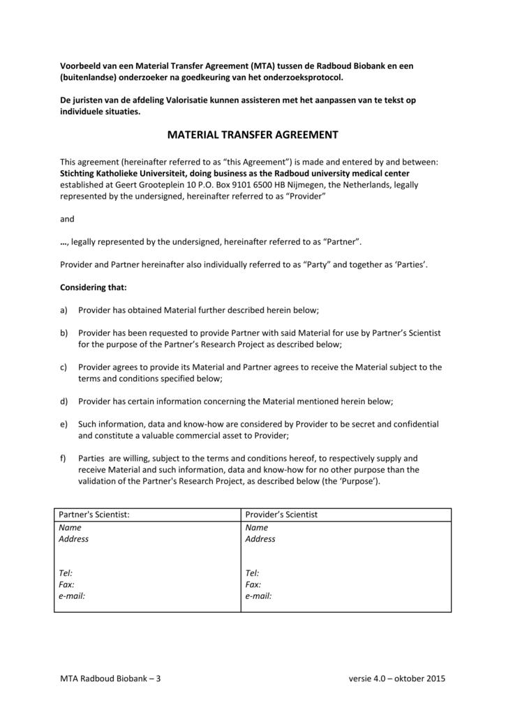 Material Transfer Agreement