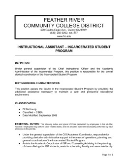 Instructional Assistant - Incarcerated Student Program
