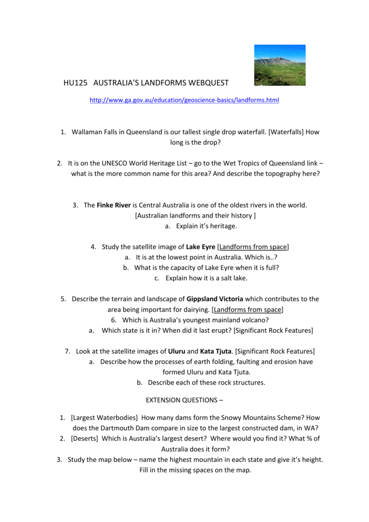 HU125 AUSTRALIA`S LANDFORMS WEBQUEST http://www ga gov