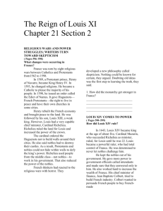 The Reign of Louis XI Chapter 21 Section 2 RELIGIOUS WARS AND