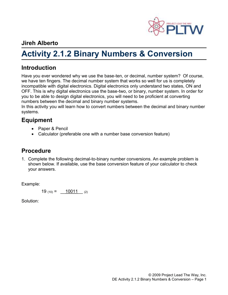 2.1.2.A Binary Numbers & Conversion