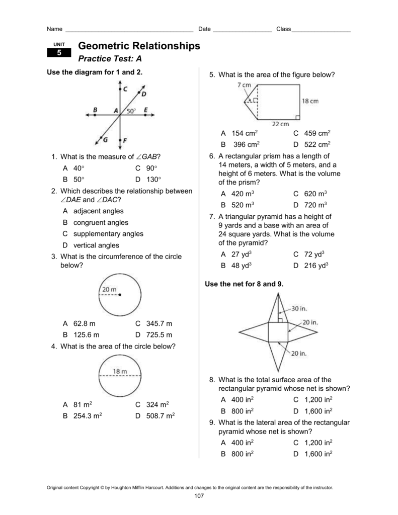Geometric Relationships Practice Test