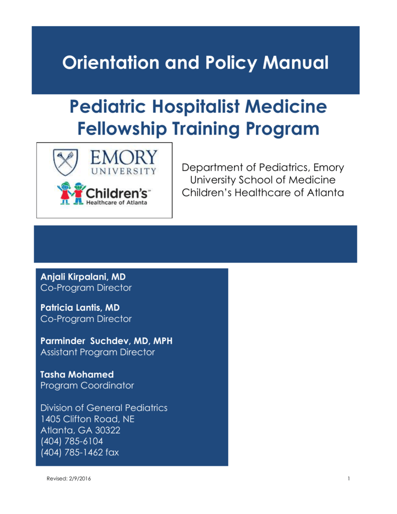 Fellowship Handbook - Emory University Department of Pediatrics