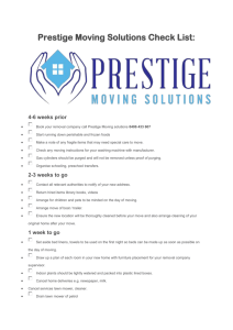 Prestige Moving Solutions Check List
