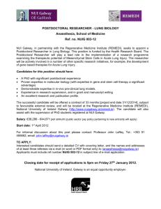 POSTDOCTORAL RESEARCHER - LUNG BIOLOGY Anaesthesia