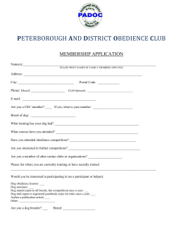 peterborough and district obedience club membership application