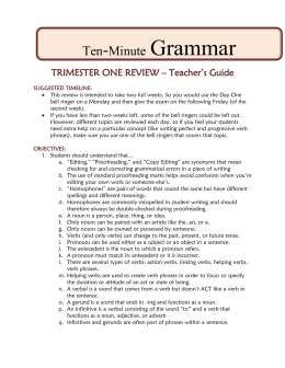 TRIMESTER ONE REVIEW – Teacher`s Guide